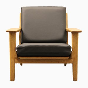 Black Leather GE 290 Easy Chair by Hans J. Wegner for Getama, 1960s