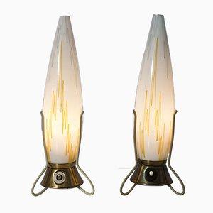 Tschechische Vintage Dreibein Tischlampen, 2er Set