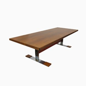 Mesa de centro modernista rectangular de palisandro de Fristho, años 60