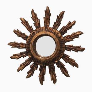 Espejo en forma de sol vintage muy pequeño de madera