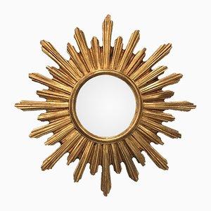 Espejo en forma de sol vintage convexo de resina