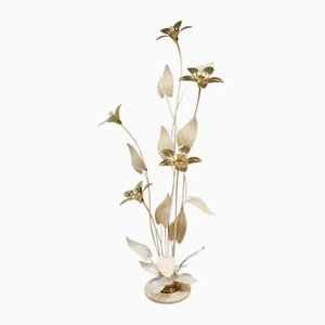 Hollywood Regency Style Brass Flower Lamp, 1970s