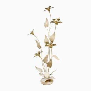 Lámpara estilo Hollywood Regency con flores de latón, años 70