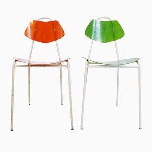 Französische Fiberglas Stühle, 1950er, 2er Set