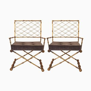 French Gilded Iron Armchairs, 1970s, Set of 2