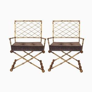 Vergoldete Französische Eisen Armlehnstühle, 1970er, 2er Set