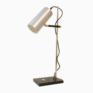 Lámpara de mesa vintage de aluminio cepillado, años 70