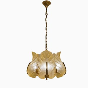 Mid-Century Swedish Glass & Brass Chandelier