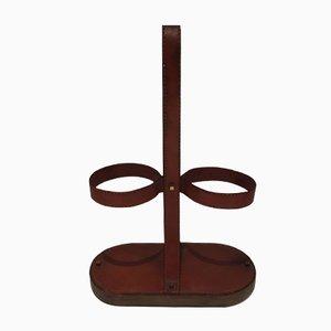Portabotellas Mid-Century de cuero marrón y latón