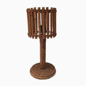 Lámpara de mesa Mid-Century de ratán