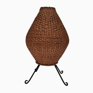Mid-Century Rattan & Black Lacquered Metal Lamp