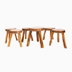 Französische Hocker aus Holz & Kupfer, 1960er, 6er Set