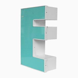 Lettre E Vintage Turquoise & Blanche Iluminée