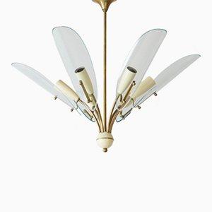 Lampada da soffitto vintage in ottone e vetro, anni '50