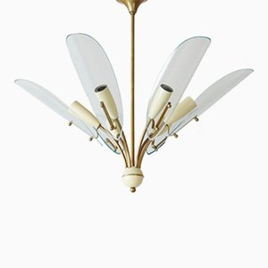 Vintage Brass and Glass Ceiling Light, 1950s