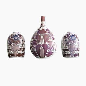 Jarrones de cerámica de Kari Christensen para Royal Copenhagen, años 60. Juego de 3