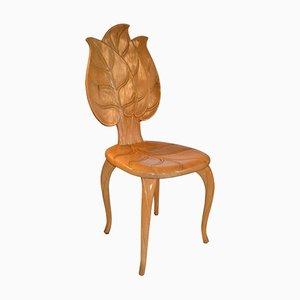 Silla con forma de hoja de madera de Bartolozzi & Maioli, años 70