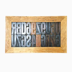 Vintage Wooden Printing Letters, 1950s