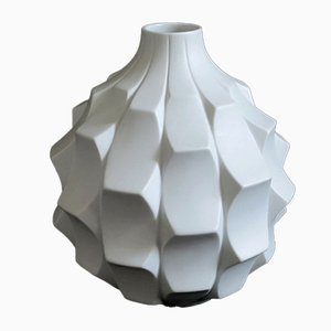 White Op Art Bisque Porcelain Vase by Heinrich Fuchs for Hutschenreuther, 1960s