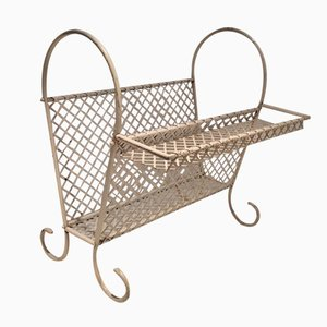 Vintage White Metal Magazine Rack