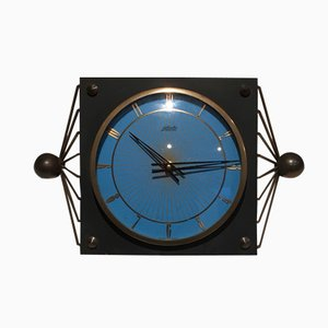 Black Lacquered Metal & Brass Table Clock