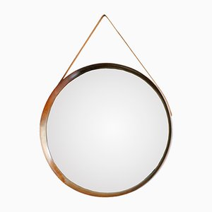 Circular Swedish Rosewood Mirror by Uno & Östen Kristiansson for Luxus, 1960s