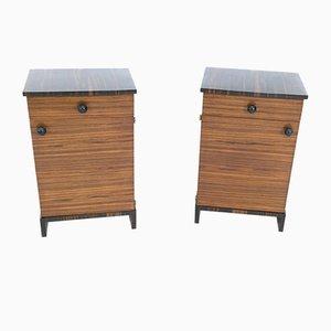 Comodini in legno di zebrano e ebano macassar, anni '40, set di 2