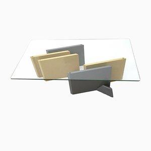 Mesa de centro de cristal y madera lacada, años 80