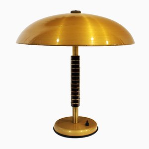 Vintage Brass & Wood Table Lamp, 1960s