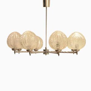 Art Deco Nickeled Metal & Seashell Patterned Glass Chandelier