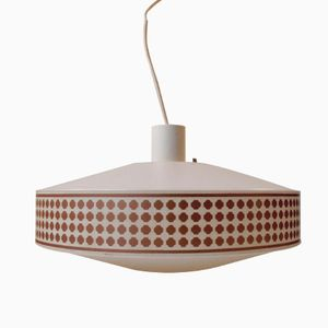 Mid Century Pendant Lamp with Geometric Copper Patterns from Heifetz Rotaflex, 1960s