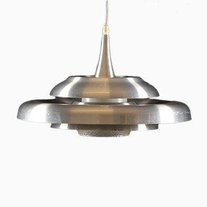 Danish Aluminum & Glass UFO Pendant Lamp, 1960s
