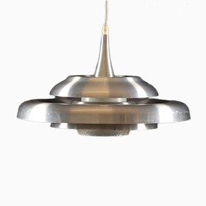 Lámpara colgante UFO danesa de aluminio y vidrio, años 60