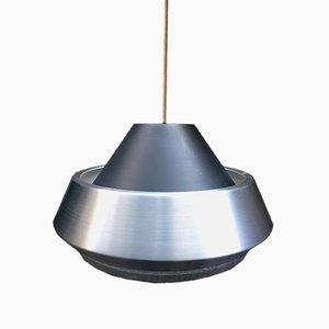 Lámpara colgante danesa vintage de aluminio y vidrio