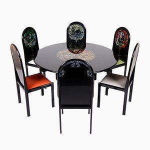 Mesa pintada alemana de edición limitada con 6 sillas de Bjorn Wiinblad para Rosenthal, 1976