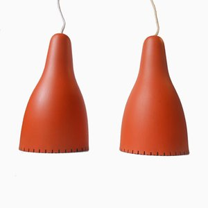 Mid Century Danish Pendant Lamps by Bent Karlby for Lyfa, 1950s, Set of 2