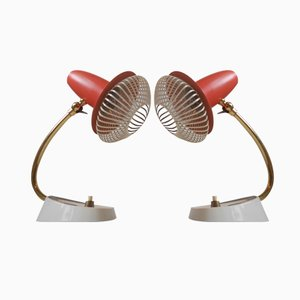 Lampes de Chevet Modernistes Vintage Rouges Ajustables, Suisse, Set de 2