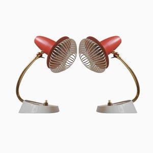Rote Verstellbare Schweizer Vintage Nachttischlampen, 2er Set