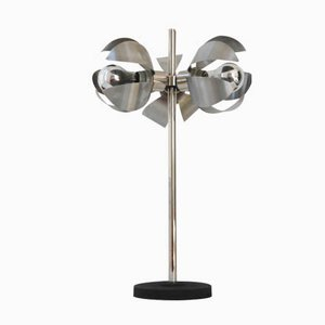 Vintage Space Age French Desk Lamp with Three Brushed Steel Flowers, 1970s