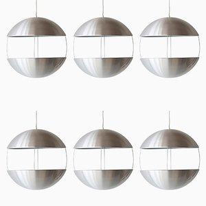 Jardineras RS50 danesas esféricas colgantes de Poul Cadovius para Royal System, años 70. Juego de 6