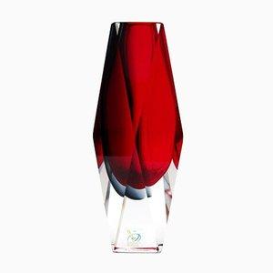 Jarrón italiano vintage de cristal de Murano sumergido de Alessandro Mandruzzato