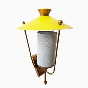 Gelbe Französische Vintage Perforierte Rockabilly Wandlampe, 1950er