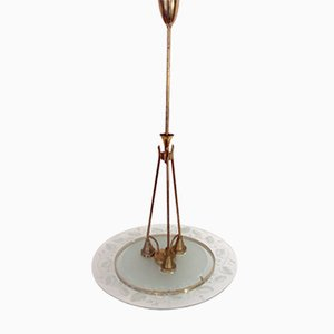 Vintage Glass & Brass Pendant by Pietro Chiesa for Fontana Arte
