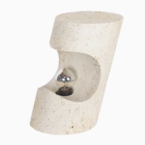 Vintage Sculptural Travertine Table Lamp by Giuliano Cesari for Nucleo Sormani