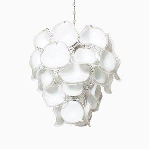 Lámpara de araña italiana modernista de cristal de Murano de Mazzega