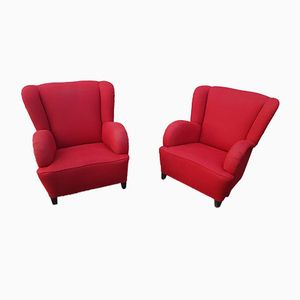 Red Italian Armchairs, 1950s, Set of 2
