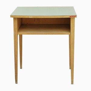 Mesa auxiliar vintage de madera con superficie verde
