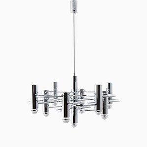 Lámpara de araña vintage geométrica de cromo de Gaetano Sciolari para SA Boulanger