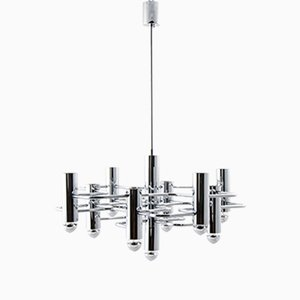 Vintage Geometrical Chrome Chandelier by Gaetano Sciolari for SA Boulanger