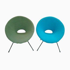 Türkiser & Grüner Lounge Stuhl, 1960er, 2er Set